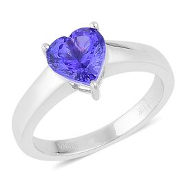 ILIANA 18K White Gold 1.50 Carat AAA Tanzanite (Hrt) Solitaire Ring