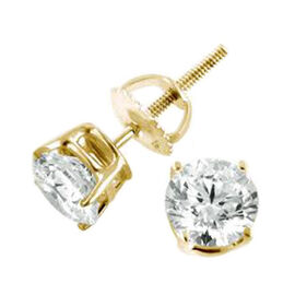 ILIANA 18K Y Gold AGI Certified Diamond (Rnd) (SI/G-H) Stud Earrings (with Screw Back) 0.500 Ct.