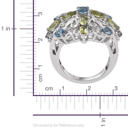Stefy Electric Swiss Blue Topaz (Rnd), Hebei Peridot, Tanzanite and Pink Sapphire Ring in Platinum Overlay Sterling Silver 2.500 Ct.