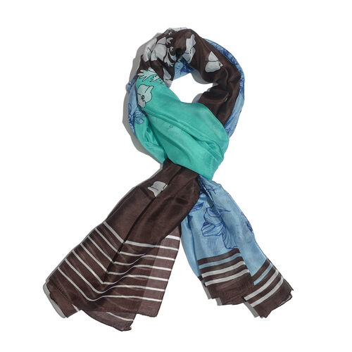 100% Mulberry Silk Blue, Chocolate and Green and Multi Colour Scarf (Size 180x100 Cm)