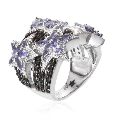 GP Boi Ploi Black Spinel (Rnd 2.00 Ct), Tanzanite and Kanchanaburi Blue Sapphire Star Ring in Platinum Overlay Sterling Silver 4.920 Ct.
