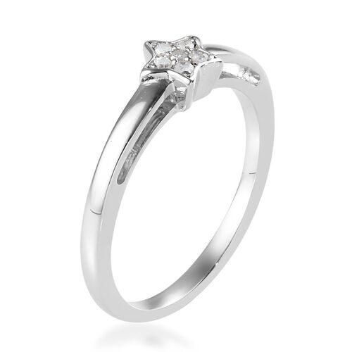Diamond (Rnd) Star Stacker Ring in Platinum Overlay Sterling Silver