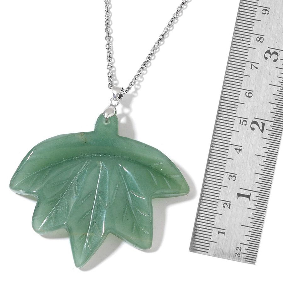 Hand carved green aventurine maple leaf pendant with chain