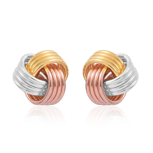 Designer Inspired-Tri Colour Sterling Silver Knot Stud Earrings (with Push Back), Silver wt 3.82 Gms.