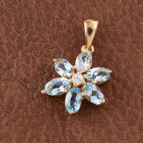 Espirito Santo Aquamarine (Ovl), Natural Cambodian Zircon Flower Pendant in 14K Gold Overlay Sterling Silver 1.250 Ct.