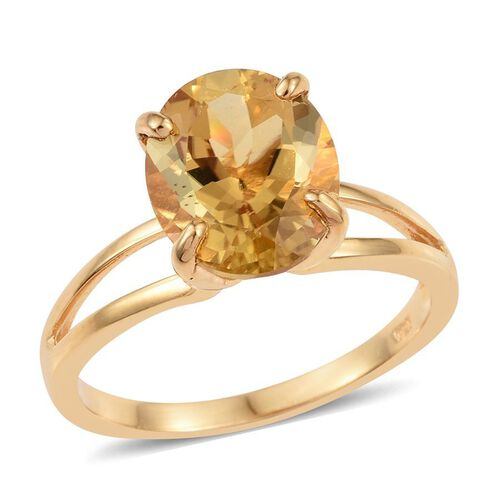 Marialite (Ovl) Solitaire Ring in 14K Gold Overlay Sterling Silver 4.000 Ct.