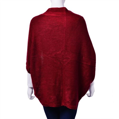 Burgundy Colour Ruana with Sleeve (Size 115x65 Cm)