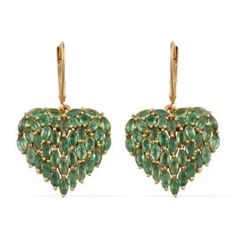 Designer Inspired Kagem Zambian Emerald (Mrq) Heart Lever Back Earrings in 14K Gold Overlay Sterling Silver 5.000 Ct.