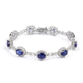 Masoala Sapphire (Ovl), Natural White Cambodian Zircon Bracelet (Size 8) in Rhodium Plated Sterling Silver 24.300 Ct. Silver wt 12.12 Gms. Number of Gemstone 189