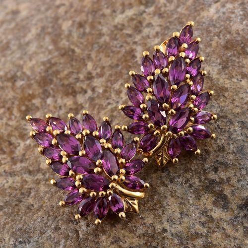 AAA Rhodolite Garnet (Mrq) Earrings (with Push Back) in 14K Gold Overlay Sterling Silver 5.250 Ct.