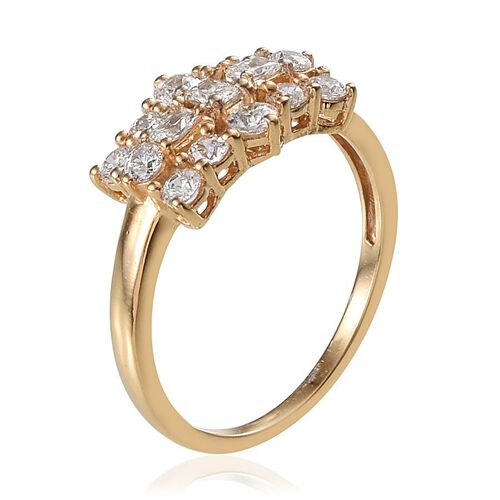 J Francis - 14K Gold Overlay Sterling Silver (Bgt) Ring Made with SWAROVSKI ZIRCONIA 1.060 Ct.