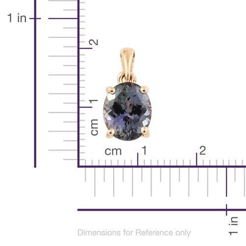 ILIANA 18K Yellow Gold Peacock Tanzanite (Ovl) Solitaire Pendant 3.500 Ct.