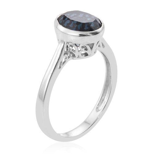 Indicolite Quartz (Ovl) Solitaire Ring in Platinum Overlay Sterling Silver 3.250 Ct.