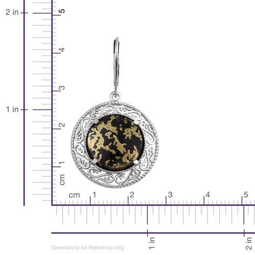 Goldenite (Rnd) Lever Back Earrings in Platinum Overlay Sterling Silver 13.750 Ct.