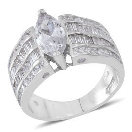 ELANZA AAA Simulated White Diamond (Mrq) Ring in Rhodium Plated Sterling Silver. Silver wt. 6.00 Gms.