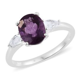 Purple Fluorite (Ovl 3.20 Ct), White Topaz Ring in Sterling Silver 3.750 Ct.