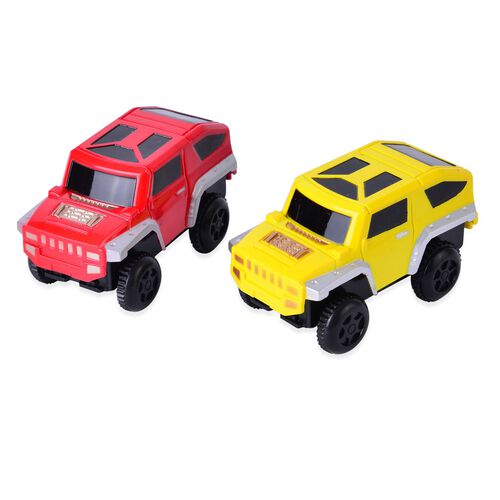 Toys - Set of 2 - Red and Yellow Colour Plastic Electric Car (Size 17.5x4.5x3 Cm)