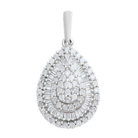 9K White Gold SGL Certified Diamond (Rnd and Bgt) (I3/G-H) Drop Pendant 1.000 Ct.