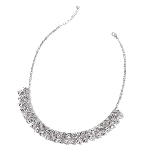 AAA White Austrian Crystal BIB Necklace (Size 18 with 2 inch Extender) in Silver Tone