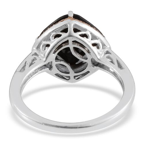 Boi Ploi Black Spinel (Cush 4.00 Ct), Champagne Diamond Ring in Platinum Overlay Sterling Silver 4.030 Ct.