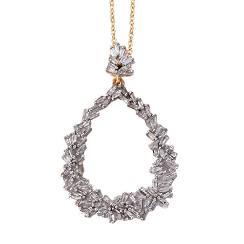 GP Diamond (Bgt), Kanchanaburi Blue Sapphire Pendant with Chain in 14K Gold Overlay Sterling Silver 0.530 Ct.