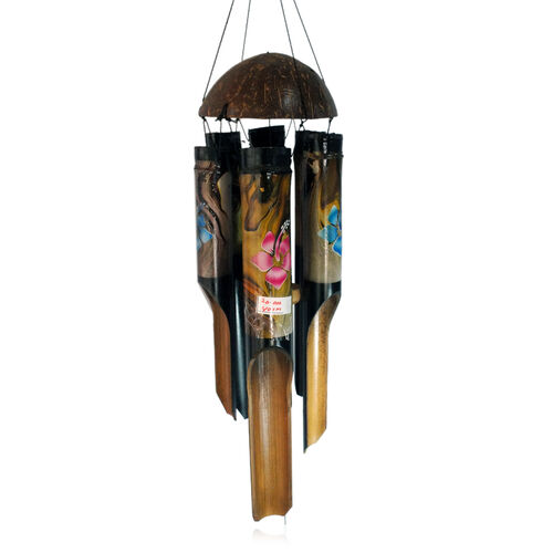 Bali Collection Home Decor - Hand Made - Bamboo Wind Chimes with Coconut Shell On Top (Flower Abstract Painting)