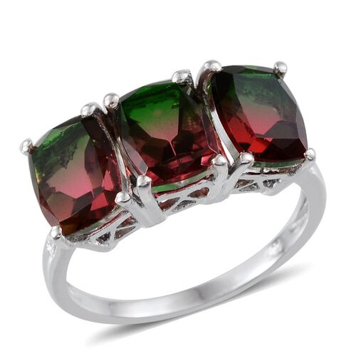 Tourmaline Colour Quartz (Cush) Trilogy Ring in Platinum Overlay Sterling Silver 8.500 Ct.