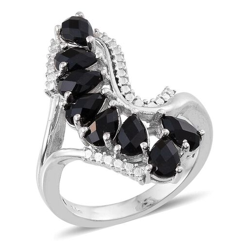 Black Onyx (Pear) Ring in ION Plated Platinum Bond 2.250 Ct.