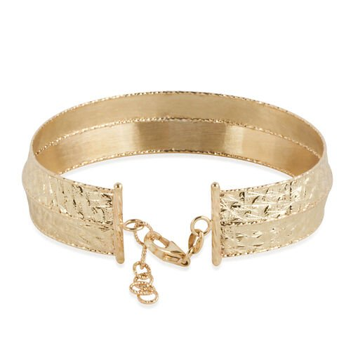 Italian Made 9K Yellow Gold Diamond Cut Bangle (Size 7 with 1 inch Extender), Gold wt. 7.26 Gms.