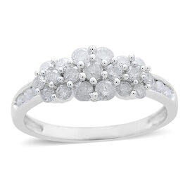 9K White Gold SGL Certified Diamond (Rnd) (SI G-H) Triple Floral Ring 1.000 Ct.
