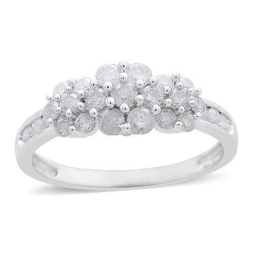 9K White Gold 1 Carat Diamond Triple Floral Ring SGL Certified SI G-H
