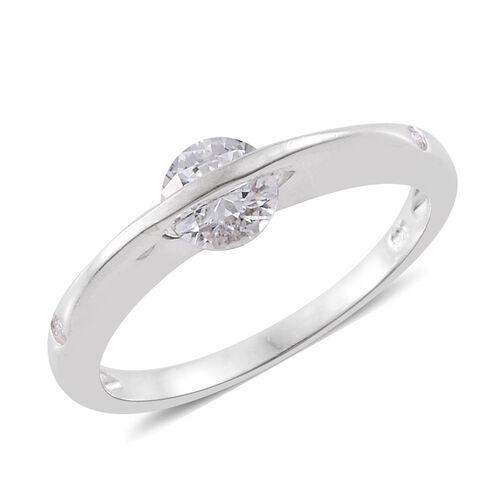 J Francis - Sterling Silver (Rnd) 3 Stone Ring Made with SWAROVSKI ZIRCONIA