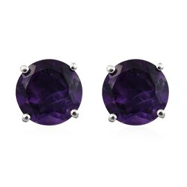 9K White Gold 3.70 Ct AAA Amethyst Solitaire Stud Earrings (with Push Back)