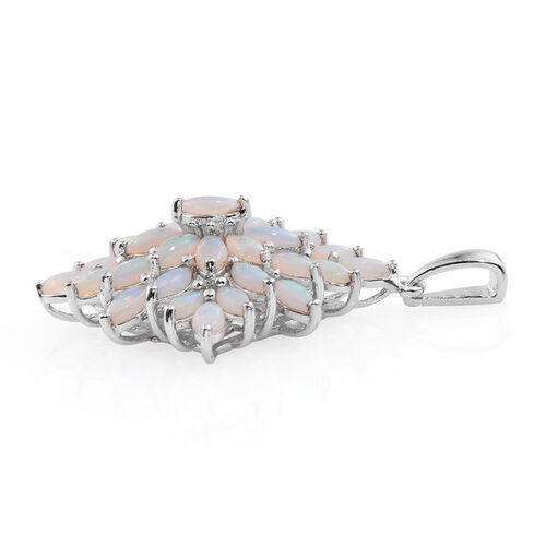 Australian Coober Pedy (Mrq) Floral Pendant in Platinum Overlay Sterling Silver 3.750 Ct.