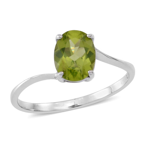 AA Hebei Peridot (Ovl) Solitaire Ring in Rhodium Plated Sterling Silver 2.000 Ct.