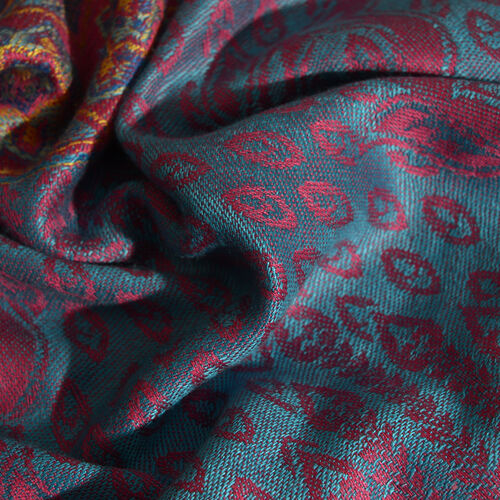 Designer Inspired-Fuchsia, Blue and Multi Colour Floral and Leaves Pattern Scarf with Fringes (Size 180x70 Cm)