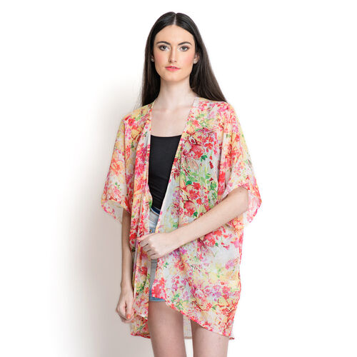Multi Colour Floral Pattern White Colour Kimono (Free Size)