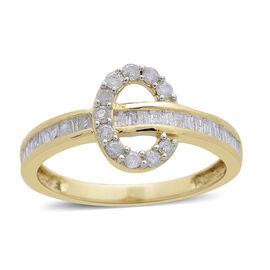 9K Yellow Gold 0.50 Carat Diamond Ring SGL Certified I3 G-H