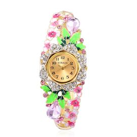 STRADA Japanese Movement Simulated Pink Sapphire, White and Pink Austrian Crystal Fuchsia Enameled Floral Design Bangle Watch in Yellow Gold Tone