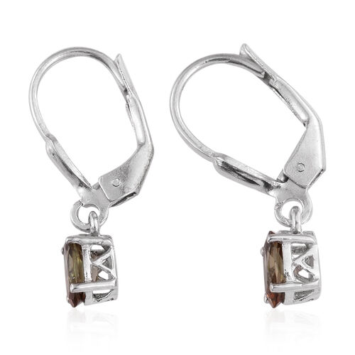 Jenipapo Andalusite (Ovl) Lever Back Earrings in Platinum Overlay Sterling Silver 1.000 Ct.