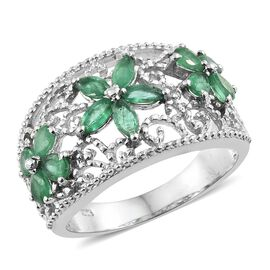 Designer Inspired - AA Kagem Zambian Emerald (Mrq and Pear) Triple Floral Ring in Platinum Overlay Sterling Silver 1.500 Ct. Silver wt 5.36 Gms.
