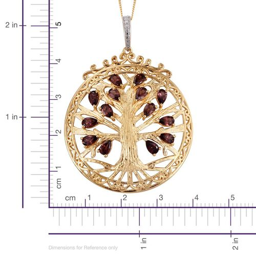 AA Umba River Zircon (Pear) Tree Pendant With Chain in 14K Gold Overlay Sterling Silver 4.500 Ct.