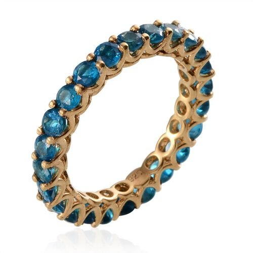 Malgache Neon Apatite (Rnd) Full Eternity Ring in Yellow Gold Overlay Sterling Silver 2.250 Ct.