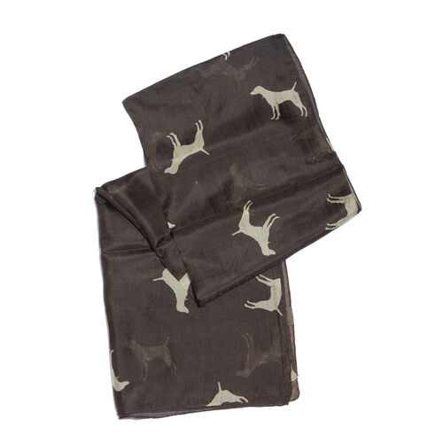 100% Mulberry Silk Dark Chocolate and Cream Colour Dogs Hand Screen Printed Scarf (Size 180X50 Cm)