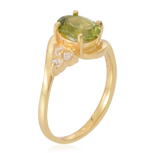 AA Hebei Peridot (Ovl 2.00 Ct), Natural Cambodian White Zircon Ring in Yellow Gold Overlay Sterling Silver 2.250 Ct.