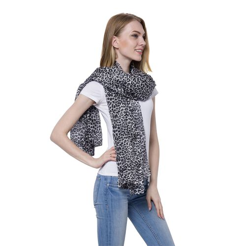 100% Mulberry Silk Leopard Pattern Black and White Colour Scarf (Size 175x110 Cm)