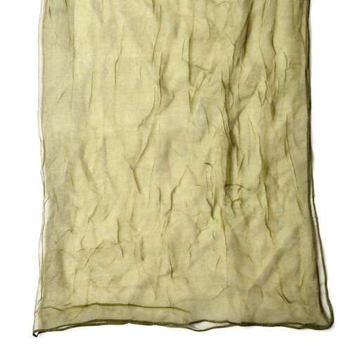 100% Mulberry Silk Green Colour Scarf (Size 170X70 Cm)
