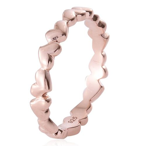 Forever Love Heart Silver Stacker Ring in Rose Gold Overlay, Silver wt 2.92 Gms.