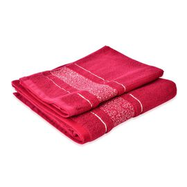Set of 2 - Cotton Red Colour Towel Large (Size 140x65 Cm) and Small (Size 70x50 Cm)