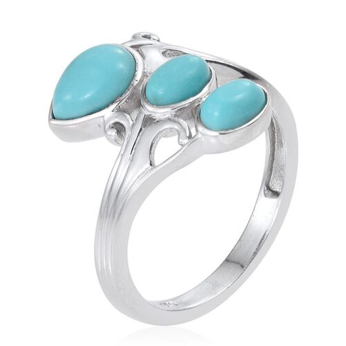 Sonoran Turquoise (Pear 0.75 Ct) Ring in Platinum Overlay Sterling Silver 1.500 Ct.